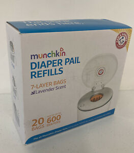 NEW Munchkin Arm & Hammer Diaper Pail Bag Refills - 600 Count - 20 Pack Lavender