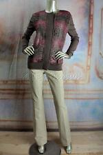 $2490 New AKRIS Brown Pink Fuchsia Tweed Cashmere Silk Cardigan Sweater 12 42