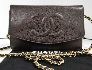 Chanel France Brown Caviar Leather CC Gold Chain Crossbody Wallet