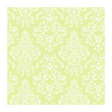 Wallpaper Designer White Damask on Bright Green