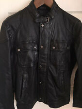 Zara Man Black Real Leather Jacket Size M Brand New Great Elbow Shoulder Detail