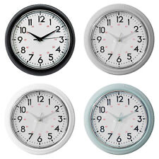 BASIC HOMETIME ROUND PLASTIC WALL CLOCK - 4 COLOURS
