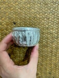 Thai Water Bowl Container Songkran Tradition Silver Stainless Holder Patterned