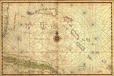 Cuba 1650 Map of the Caribbean Ocean Bahamas - 16x24