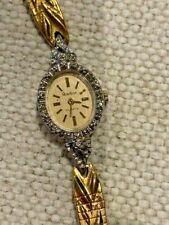 Armitron Quartz Gold Face Gold Detailed Band w Bezel Diamond Vintage Lady Watch
