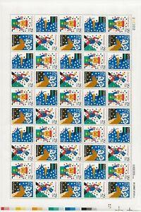 1993 29 cent Christmas Snow full Sheet of 50, Scott #2791-2794, Mint NH