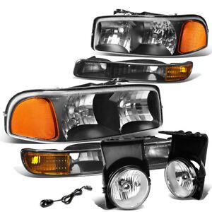 FOR 03-06 GMC SIERRA/CLASSIC BLACK AMBER BUMPER HEADLIGHT+CLEAR FOG LIGHT+SWITCH