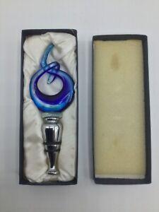 Murano Style Swirled Blue Art Glass Wine Bottle Stopper With Original Box