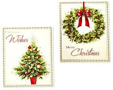 PACK OF 12 WREATH & TREE CHRISTMAS CARDS IN 2 DIFFERENT DESIGNS - BRAND NEW