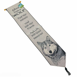 Advice From A Wolf True Nature Tapestry Wall Hanging Bellpull