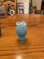 "Vintage Fenton Blue Opalescent Hobnail Glass Small Vase 4"""