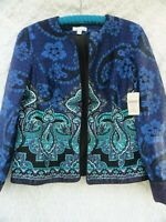 Coldwater Creek NEW Jacket Misses 12 Blue Green Black Cotton Rich Lined NWT $89