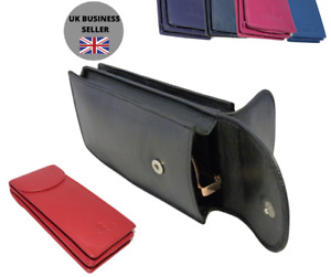 Luxury soft Leather unisex DOUBLE Glasses case spectacles by 7 colours