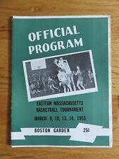 Boston Garden Eastern MASS Basketball Tournament March 1953 Program w/ Insert