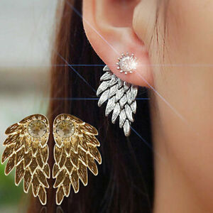18K WHITE GOLD FILLED ANGEL WING EARRINGS WITH ROUND WHITE TOPAZ..POPULAR !!