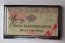b You say high maintenance like a bad thing BUSINESS CARD HOLDER ganz metal