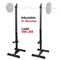 Pair of Adjustable Rack Sturdy Steel Squat Barbell Free Bench Press Stands GYM