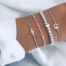 Schönes Design Karte Herz Perlen Seil Kette Perlenstrang Armbänder Set