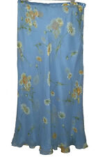 Escada Blue Daisy Print Silk Chiffon Long Skirt Size 42