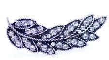 Vintage style antique silver colour crystal leaf double finger ring