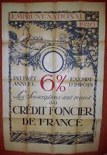 Camille BOIGNARD RARE ANCIENNE AFFICHE EMPRUNT NATIONAL CRÉDIT FONCIER 1920
