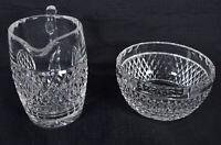 Waterford Crystal Irish Lace Creamer Open Sugar Bowl Set Signed