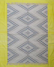 Handwoven Carpet Pastel Colour Geometric 5x7 Wool Kilim Rugs Check Living Room