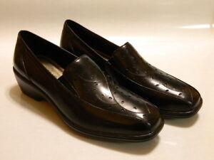 ARAVON Kiley Women's Slip On Loafers Shoes Leather Black Sz 6 B Med NIB $129.95