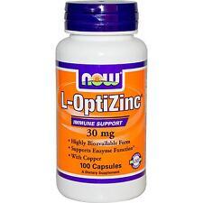 Now Foods L-optizinc 30 MG 100vcaps altamente Biodisponibile Zinco con Rame