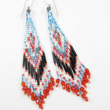 IRIS BLACK PINK BLUE SEED BEADED EARRINGS BEADED HANDMADE E16/43
