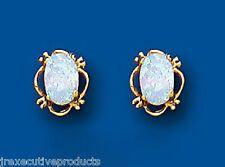 Opale Orecchini Ovale Opale Borchie Oro Giallo Opale Orecchini