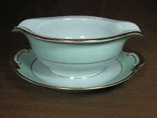 Sone China of Japan Gravy Boat w/ Attached Underplate Light Green Rim Gold Trim