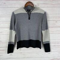 Vtg Metropolis by Couloir Virgin Wool Blend 1/4 Zip Sweater Medium Gray Black