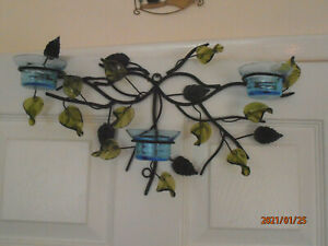 NEW Hanging Metal Wall Art 48cm 3 Votive Holder Sconce Perspex Adjustable Leaves