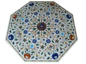 "36"" Marble coffee Table Top semi precious stones Inlay art Work decor"