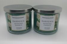 Lot of 2 - Huntington Home 3 Wick Candles Gardenia Scented 14 oz