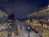 PAINTING CITYSCAPE PISSARRO BOULEVARD MONTMARTRE NIGHT ART PRINT POSTER LAH032
