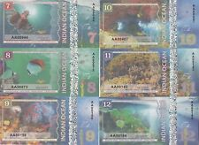 Indian Ocean Set 6 banknotes 7-12 dollars 2017 year UNC (private issue)