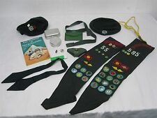2 VTG GIRL SCOUT SASH w PATCHES, PINS, BERET, CUP, SEWING KIT, WALLET BELT MORE!