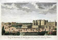 A VIEW OF THE BASTILE  PARIS  c1778 GENUINE ANTIQUE COPPERPLATE ENGRAVING
