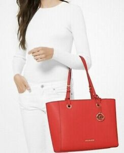 MK Michael Kors Walsh Medium Saffiano Leather Tote Bag, Mandarin/Red, NWT!