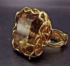 ESTATE Emerald Cut SMOKY TOPAZ Wire Wrapped 14K karat Gold RING, size 6, 14.5g