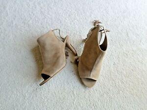Autograph Insolia  Suede Peep Toe Heels Stiletto Size 6 Sandals Tassels Leath