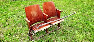 Antique Vintage Wooden Cinema Seats