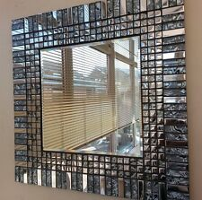 Stunning Square Silver Chrome Grey & Black  Glass Handmade Mosaic  Mirror