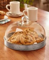 GALVANIZED Glass Domed Serving Plate Cookie Tray Pastry Cake Display Case