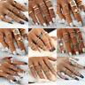 Retro Boho Stack Plain Above Knuckle Ring Midi Finger Tip Rings Set Silver/Gold