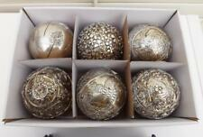 SILVER  DECOR BALLS LARGE  RESIN S/6 assorted deigns with TURTLE & SEA HORSE