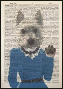 Westie Print Vintage Dictionary Page Wall Art Picture Dog In Clothes Girl Animal