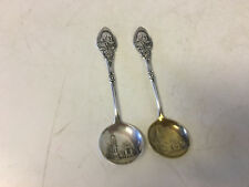 Antique Pair of Howard Sterling Silver Spoons w/ William Shakespeare & House Dec